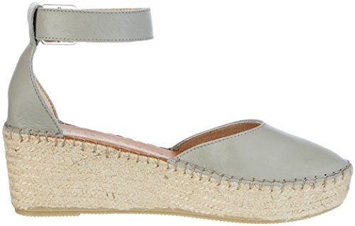 SELECTED FEMME Sfabie Leather Wedge Sandal, Sandalias con Tira de Tobillo para Mujer Gris (Grey)