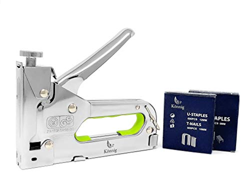 Könnig Heavy Duty Staple Gun 3 in 1 w/Bonus 2000 Staples, Hand Operated Stainless Steel Stapler, Brad Nailer, Tacker Tool