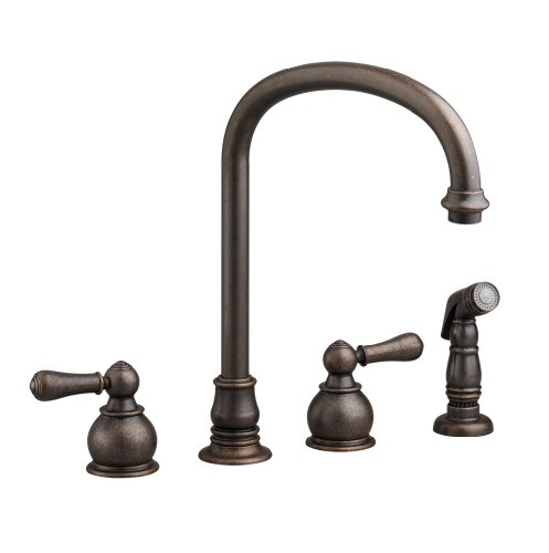 American Standard 4751.732.224 Hampton Bottom Mount Hi-Arc Kitchen Faucet with Sidespray, Oil Rubbed Bronze (Bottom Mount Kitchen Faucet)