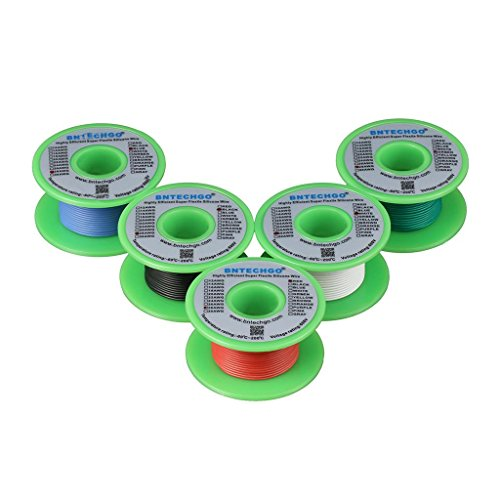 BNTECHGO Ultra Flexible 28 Gauge Silicone Wire Spool 5 Color Red Black White Blue Green High Resistant 200 deg C 600V Electronic Wire 28 AWG Stranded Wire 16 Strands Tinned - 28 Gauge Spool