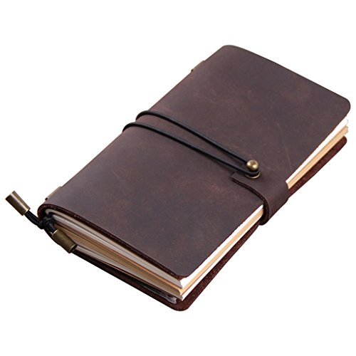 Robrasim Hand Crafted Vintage Refillable Leather Traveler's Notebook – Leather Journal Notebook – Medium Size 17x10cm – Coffee
