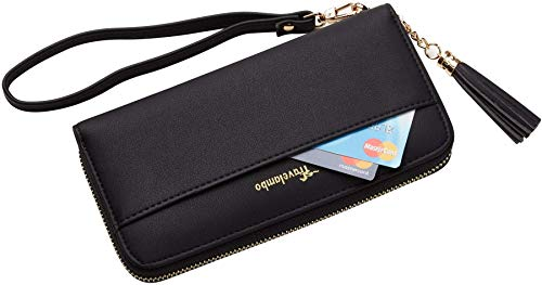 Travelambo Womens Wallet Tassel Bifold Ladies Cluth Wristlet Wrist strap Long Purse 3