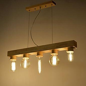 Modern Deckenlampe Holz Kronleuchter Wohnzimmer Restaurant Cafe Bar