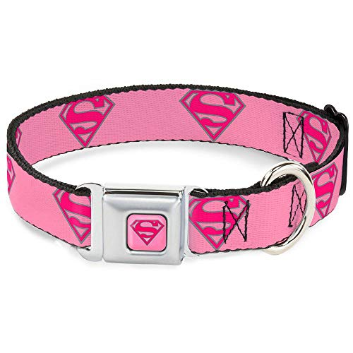 "Buckle-Down Seatbelt Buckle Dog Collar - Superman Shield Pink - 1.5"" Wide - Fits 18-32"" Neck - Large"