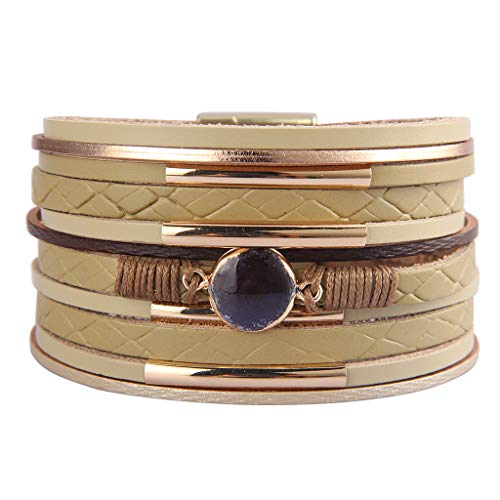 AZORA Leather Wrap Bracelets for Women Goldplated Metal Crescent Cuff Bracelet with Magnetic Buckle Casual Bohemian Wrist Bangle Jewelry Gift for Ladies Teen Girls Sister -