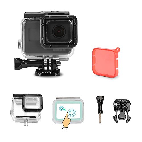 TELESIN Touchable Screen Waterproof Housing Case Diving Camera Lens Cover Protector Shell for GoPro Hero 6 and Hero 5 Underwater 45M Photography Accessories by TELESIN