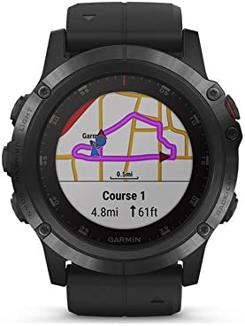 Garmin f nix 5X Plus, Ultimate Multisport GPS Smartwatch, Features Color Topo Maps and Pulse Ox, Heart Rate Monitoring, Music and Pay, Black with Black Band