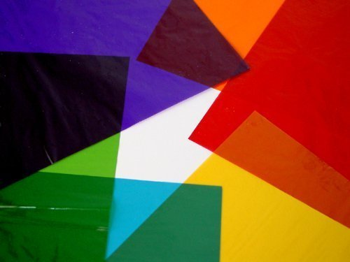 Sheets of Assorted Coloured Cellophane / film in 8 Assorted Colours A4