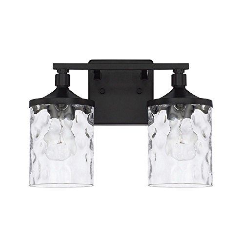 Capital Lighting 128821MB-451 Homeplace Colton – Two Light Bath Vanity, Matte Black Finish with Clear Water Glass