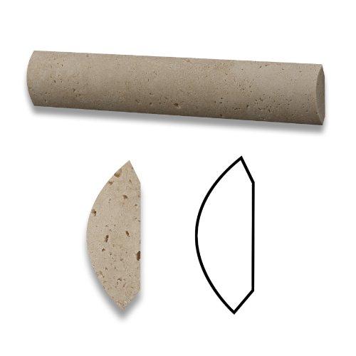 Ceramic Quarter Round - Ivory Travertine Honed 1 X 6 Quarter Round Trim Molding - 3