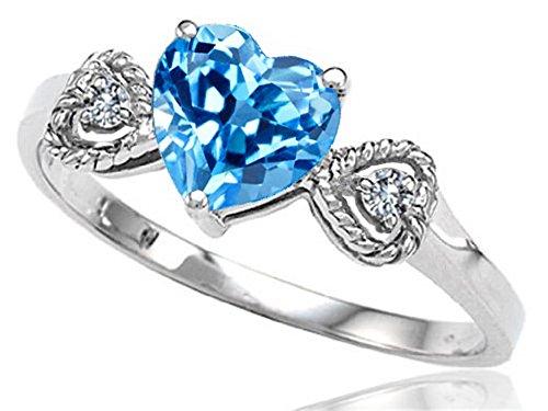 Genuine Blue Topaz Heart-Shape Engagement Promise Ring 10k Size 6