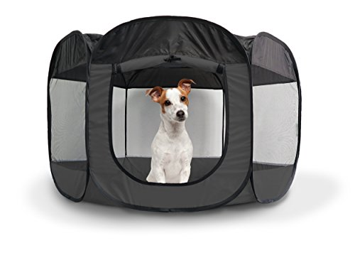 FurHaven Pet Playpen | Mesh Open-Air Dog Playpen/Exercise Pen, Gray, Large