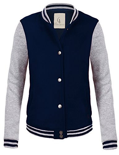 Casual Stylish Street Style Baseball Uniform Coat Jackets 097-Navy_Grey Large