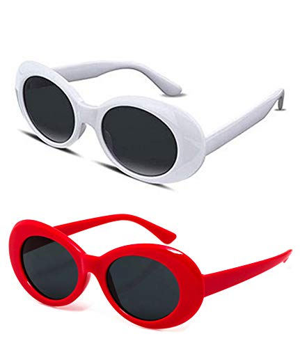 (Clout Goggles Oval Mod Retro Thick Frame Rapper Hypebeast Eyewear Supreme Glasses Cool Sunglasses (2 Pack: White and Red, 51))
