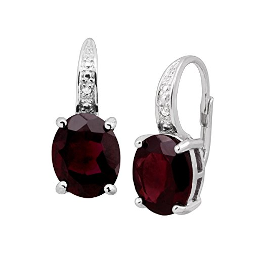 6 ct Natural Garnet Drop Earrings with Diamonds in Sterling Silver