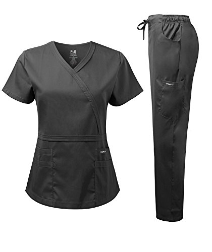 Dagacci Medical Uniform Women's Scrub Set Natural Stretch Y-Neck Stitch Tape Top and Pants (Small, - Flare Scrub Fit