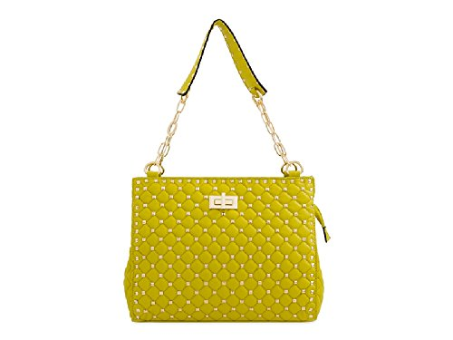 Ladies Designer Faux Leather Studded Chain Handbag - Women's Handle Shoulder Bag KT2200 Lemon