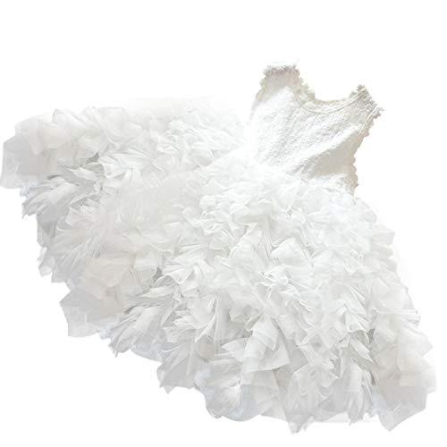 NNJXD Little Girl Tutu Dress Tulle Ruffles Flower Girls Wedding Party Dresses Size (120) 5-6 Years -