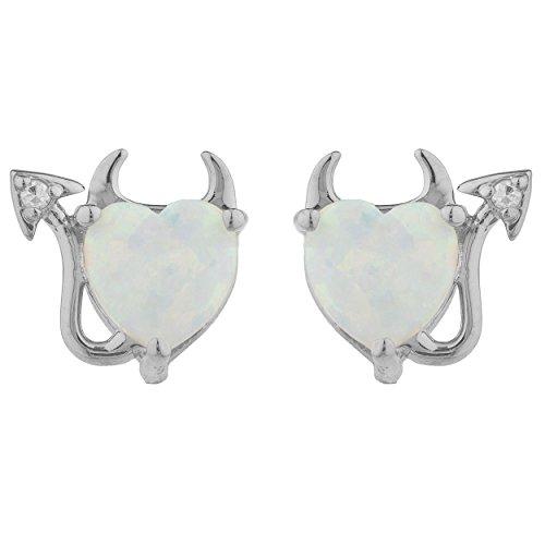 Genuine Opal Diamond Devil Heart Stud Earrings 14Kt White Gold Sterling Silver