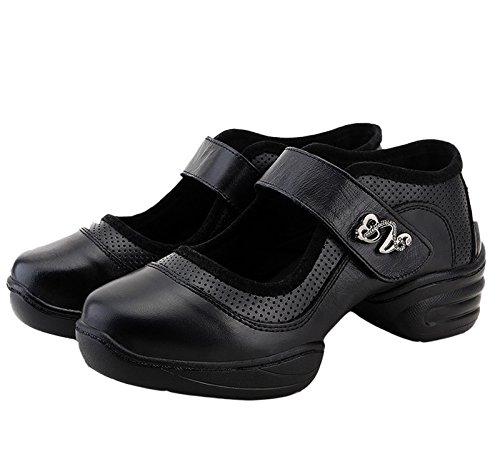 VECJUNIA Ladies Velcro Mesh Leather Dance Trainer Dance Shoes Black n892NKyCk6