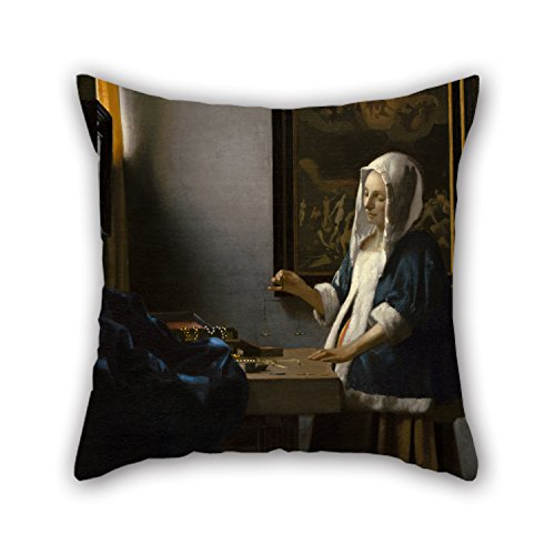 [Uloveme Oil Painting Johannes Vermeer - Woman Holding A Balance Pillow Covers 18 X 18 Inches / 45 By 45 Cm Gift Or Decor For Bar Seat,gf,indoor,birthday,coffee House,couch - Each] (Old Lady Holding Baby Costume)