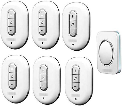 ウォールプラグインコードレスドアチャイム、IP44防水ドアベルキット、900フィートの範囲48チャイム6レベルボリューム(1つのプッシュボタンと6つのレシーバー),2