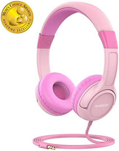 AUSDOM K1 Kids Headphones, On-Ear Wired Headphones for Children Baby with 85dB Volume Limited Hearing, Music Sharing Function, Safe Food Grade Material – Pink