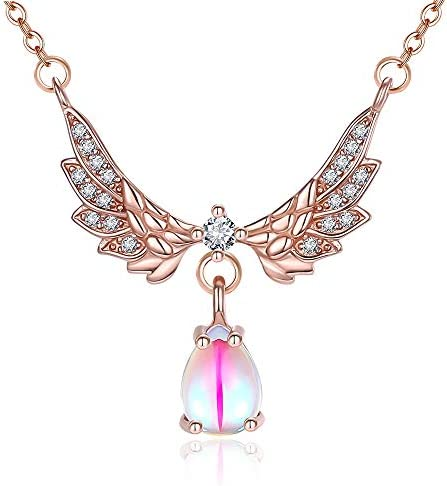 FANSING Angel Pendant Necklaces for Womens Austria Eyes Shaped Crystal Necklace