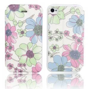 Flower Pattern Flip-open PU Leather Protective Case for iPhone 4/4S ( 18 )