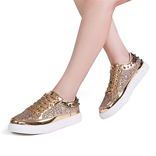 Golden Casual Gold Silver Women's Rose Flats 2018 Sequins Rivet Spring Woman Bling Shoes Kenavinca Designer Women Shiny Autumn Shoes xYA0q6Z7