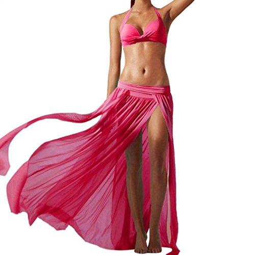 Jupe Femme Longue Ete Moulante Solike Femmes Longue Jupe Sexy Bohme en Mousseline De Soie Haute Split Jupe Pour Voyage Transparent Maxi Jupe De Plage Rose Vif