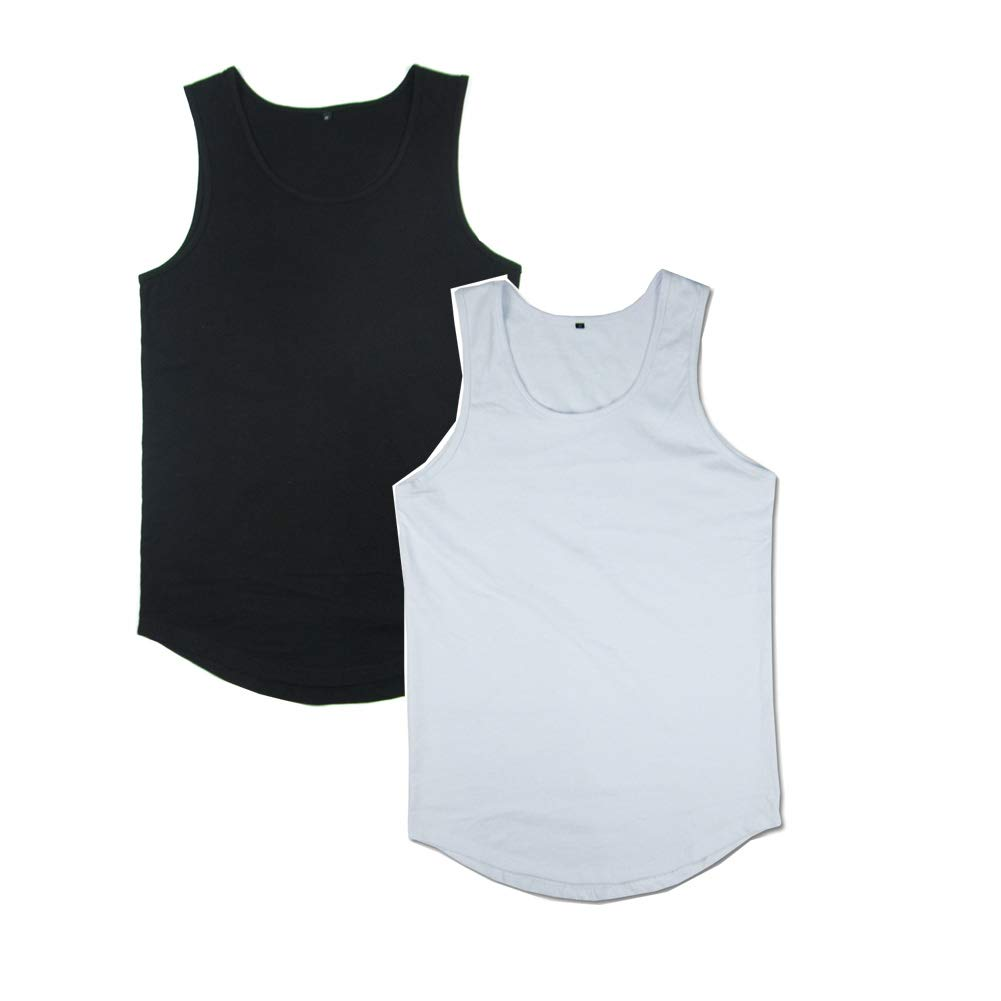 VFIVE UNFOUR Mens Hip Hop Extra Long Curved Tail Line Extended Tank Top