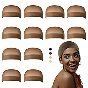 Dreamlover Brown Wig Caps for Women, Wig Stocking Cap for Lace Front Wig, 12 Pack