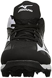 Mizuno 9 Spike ADV YTH FRHSE 8 BK-WH Youth Molded Cleat (Little Kid/Big Kid), Black/White, 4 M US Big Kid