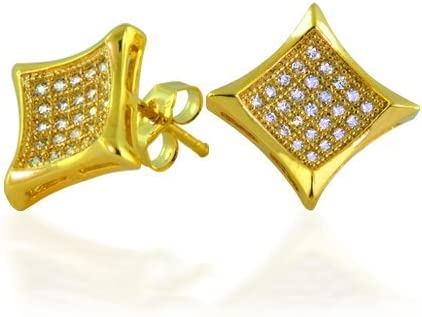 Mens Womens Square Shaped Cubic Zirconia Micro Pave CZ Kite Stud Earrings 14K Gold Plated 925 Sterling Silver 11MM
