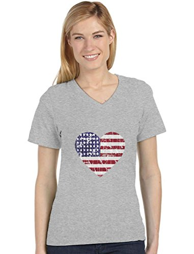 American Heart Flag USA Flag Heart Patriotic 4th of July Women's Fitted V-Neck T-Shirt Large -