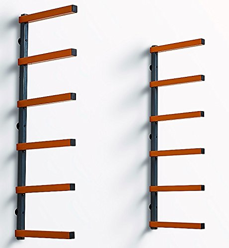 (PortaMate PBR-001 Wood Organizer and Lumber Storage Metal Rack with 6-Level Wall Mount - Indoor and Outdoor Use)