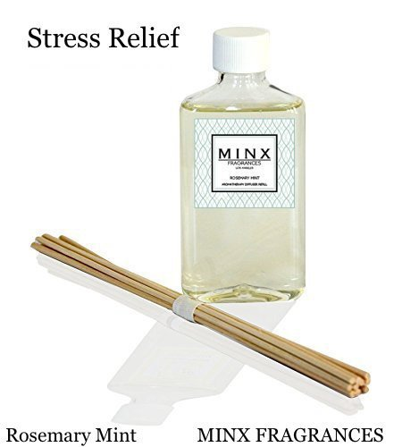 STRESS RELIEF Rosemary Mint Aromatherapy oil Reed Diffuser Set REFILL and Sticks | Garden Mint, Rosemary, Eucalyptus Leaves & Citrus | Relaxing Scent Makes a Great - Diffuser Oil Refill Reed