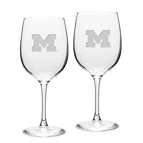 NCAA Michigan Wolverines Adult Set of 2 - 19 oz Robusto Red Wine Glasses Deep Etch Engraved, One Size, Clear ()