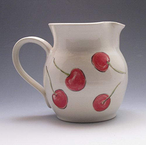 Porcelain pitcher, hand thrown and hand painted with cheerful cherries