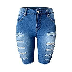 Aodrusa Womens Denim Shorts Elastic Waist Cuttoff Above Knee Length Stretch Ripped Short Jeans