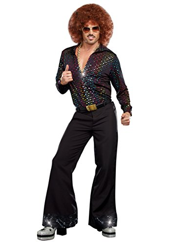 Plus Size Disco Dude Shirt Costume 3X Black -