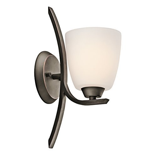 Opal Bronze Sconce - KICHLER 45358OZ Grandby 1LT Wall Sconce, Olde Bronze Finish with Satin Etched Cased Opal Glass Lighting