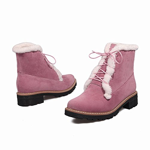 Heel Faux Boots Low Cute Snow Pink Christmas Warm Carolbar Up Lace Fur Womens x8XypfwA