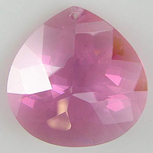 (30mm Faceted CZ Cubic Zirconia briolette Pendant Pink )