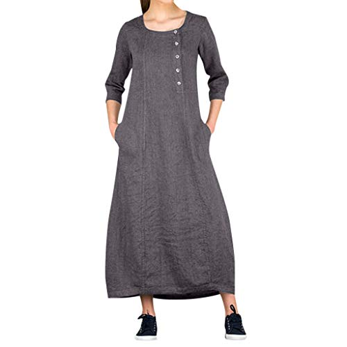 Transer- Turnic Shirt Dress Boat Neck 3/4 Sleeve Summer Linen Casual Loose Maxi Dresses With Pocket