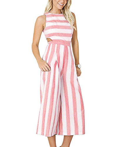 BELONGSCI Women Summer & Autumn Outfits Stripe Print Sexy Sleeveless Long Jumpsuit Romper Zipper Back Casual Style (Pink Sexy Stripe)