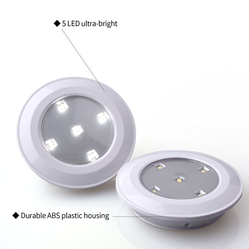 Tap Lights 5-LED Stick On Push Lights Battery Powered Puck Lights for Closets, Cabinets, Counters (2 Pack, White) by Techbee (Image #2)