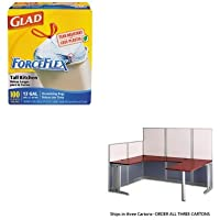 KITBSHWC3649603COX70427 - Value Kit - Bush U-Workstation Box 3 of 3 Office-in-an-Hour (BSHWC3649603) and Glad ForceFlex Tall-Kitchen Drawstring Bags (COX70427)