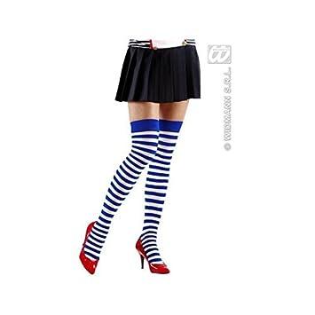ringeloverknee/Calcetines/Medias cortas/OVER THE KNEE Calcetines en Azul-blanco Disfraz Marinero Chica/Marítimo/MARINO niñas: Amazon.es: Juguetes y juegos